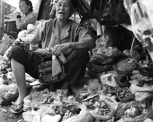Herb vendor at Talat Sao market, Vientiane, Laos. by daveweekes68