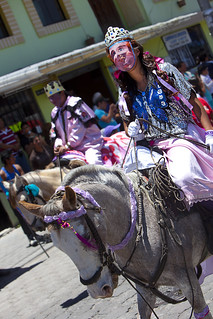 Horsemen from El Tingo (known as the Turks), they dress as women at La Fiesta de la Virgen de la Merced