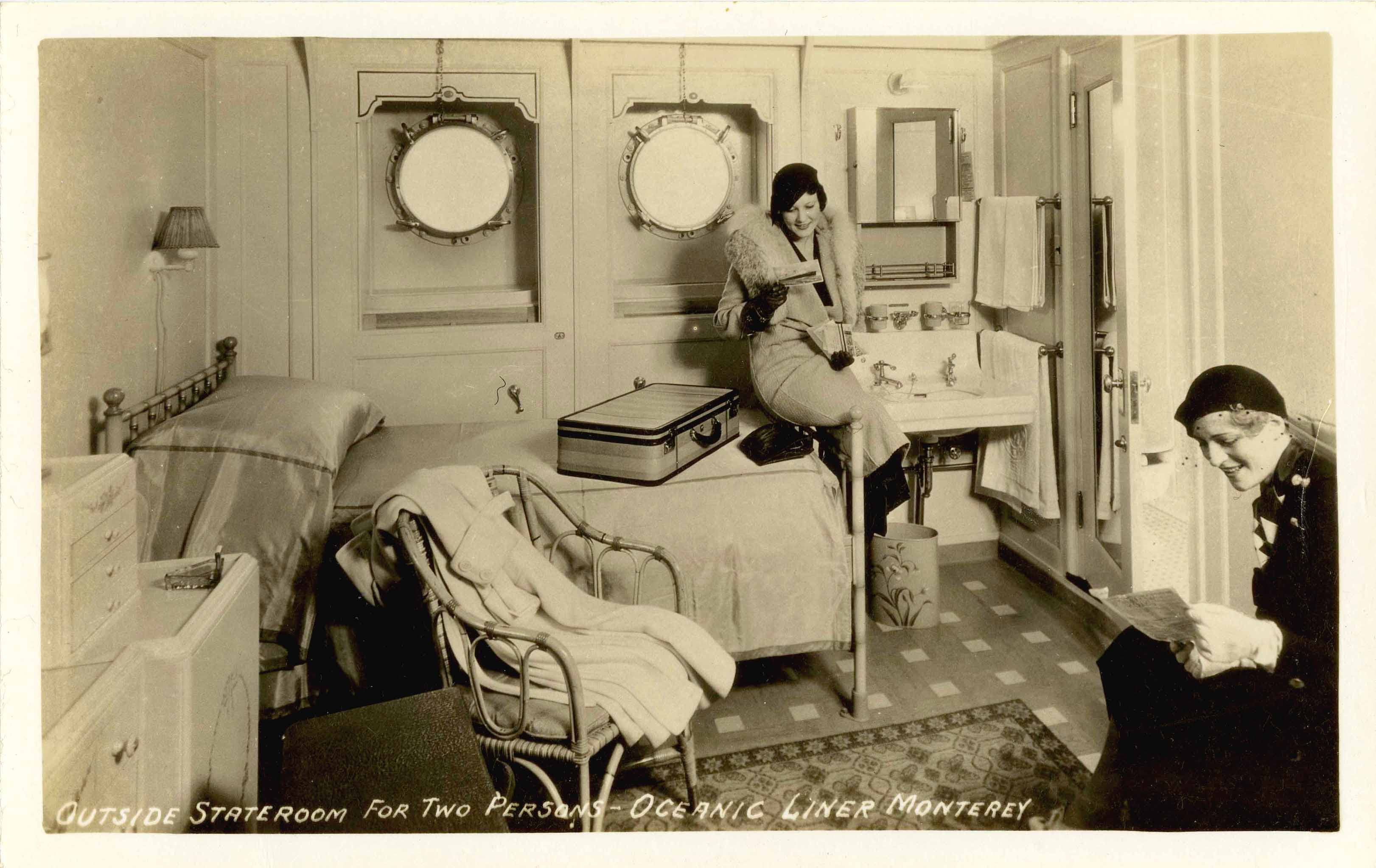 Two passengers in cabin aboard liner MONTEREY