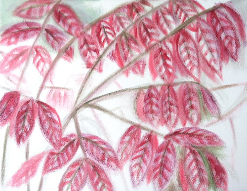 Red Leaves (Oil Bar Painting as of Sept. 28, 2013) by randubnick