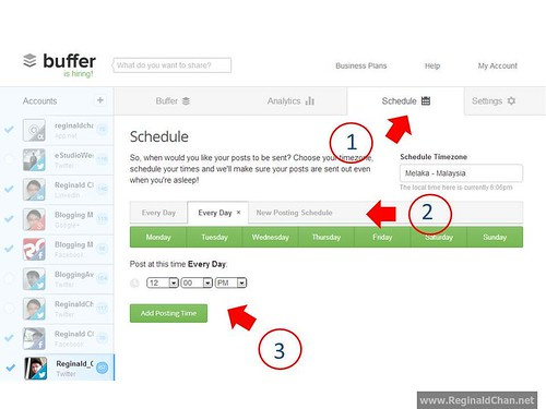 Step by step guide in creating a schedule on Buffer App