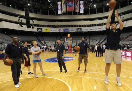 October 12th, 2013 -- Yao Ming shoots a hook shot in Taipei, Taiwan