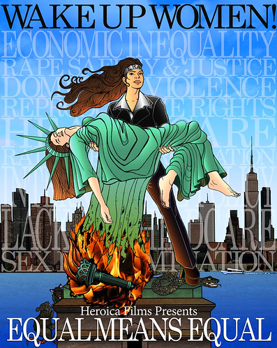 The poster for Equal Means Equal, in which a woman in a suit is rescuing the statue of liberty