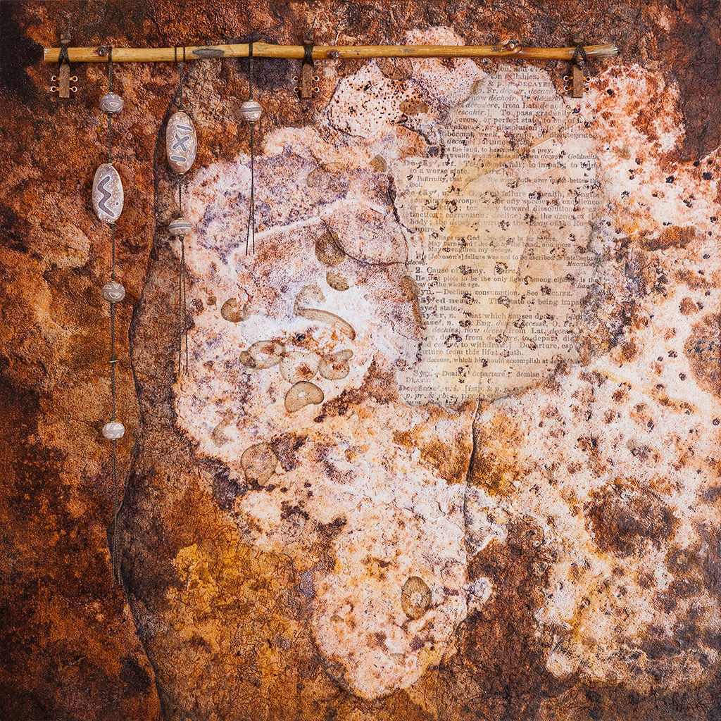 18 x 18 mixed media inspired by rocks and lichen in Headquarters Canyon, Utah available - $395