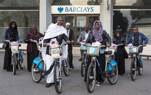 Somalians in London protesting at Barclays bank. They want to maintain remittances sent to the Horn of Africa state through the financial institution. by Pan-African News Wire File Photos