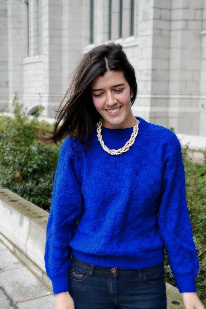 Blue handmade sweater