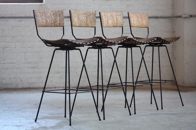 Dux Dining Table Determined Arthur Umanoff Mid Century Modern Rush Back Swivel Wrought ...