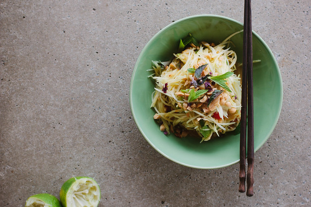 Vegan green mango salad