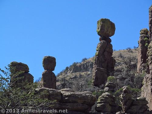 Balancing rocks along the Echo Canyon Trail in Chiricahua National Monument, Arizona