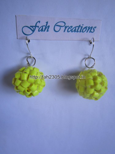 Handmade Jewelry - Paper Quilling Globle Earrings (Yellow - H) (1) by fah2305