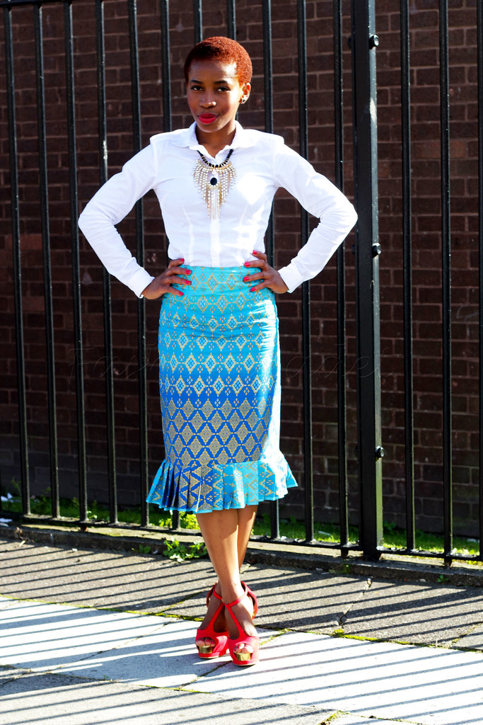Women's Pleated Hem Skirts,  kitenge pleated hem pencil skirt, white crisp shirt, geometric print skirt, geometric print pencil skirt, African print pencil skirt, Ankara pencil skirt, chitenge pencil skirt, kitenge pencil skirt, high waist pencil skirt