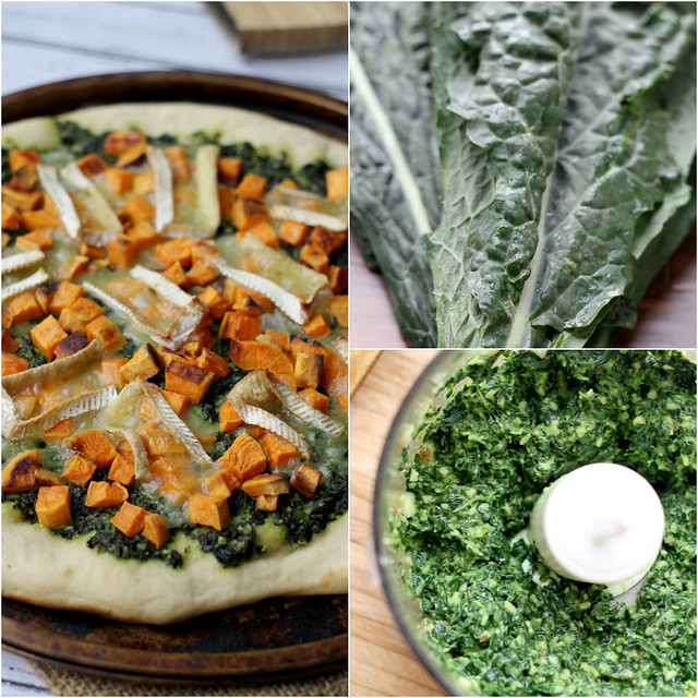 sweet potato and brie pizza with kale pesto