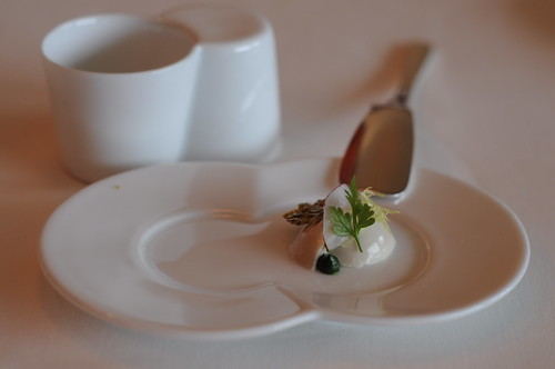 Guy Savoy's Amuse Bouche 2 (part 2) - Chestnut Royale (gelee), Watercress Purée, Pistachio Tuile & Herb Salad