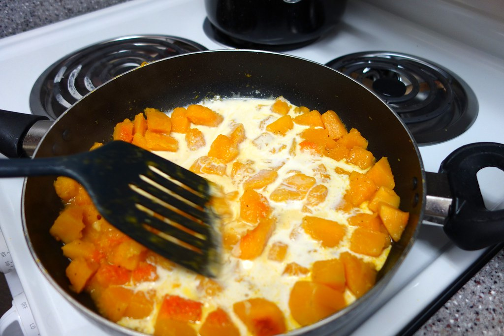 Continue to cook squash in the cream