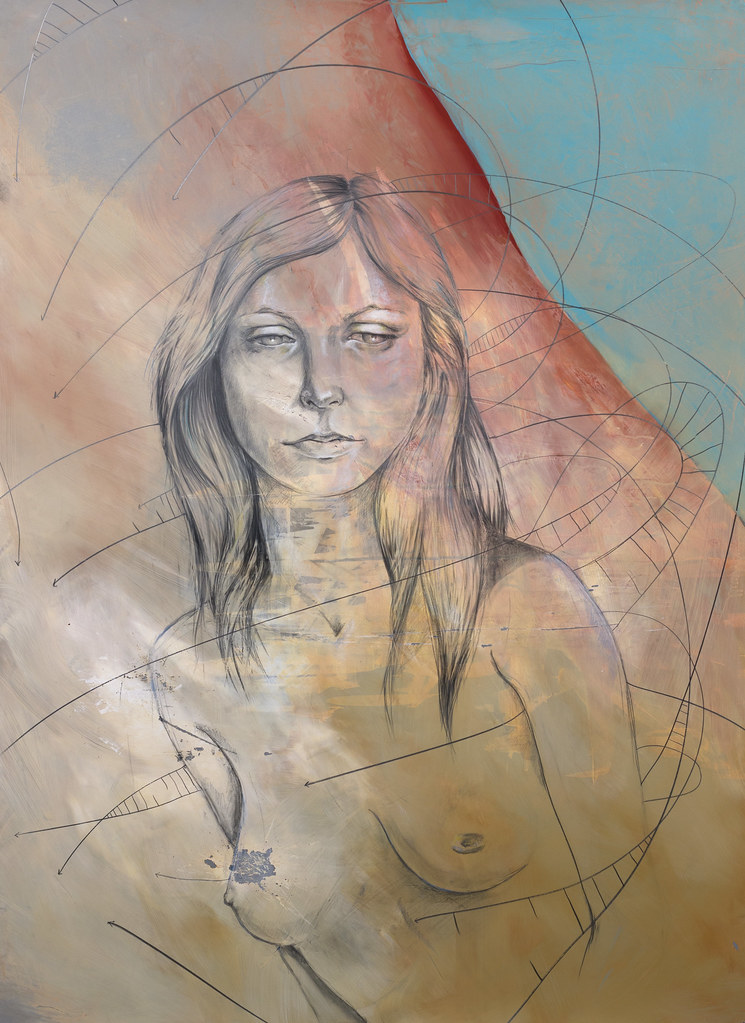 "Lauren Peck Bent 48"" x 56"" Acrylic, Gouache, Graphite on Mylar 2013"