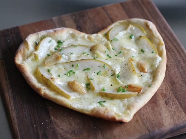 Awwwww! Heart-shaped Mt Tam, Pear and Garlic Confit Pizza (Gluten-free)