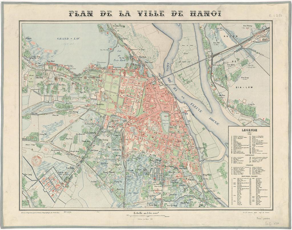 Plan de la Ville de Hanoï au Vietnam en 1911.