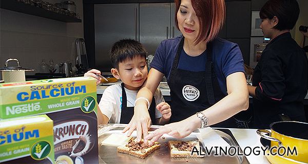 Violet and her son, the new ambassador for Nestle Koko Krunch in Singapore