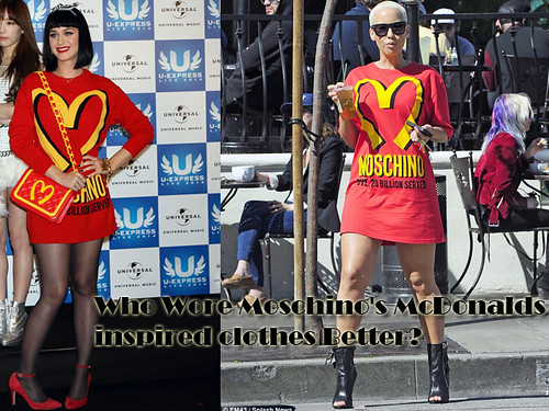 Who Wore Moschino's McDonalds inspired clothes Better? Katy Perry or Amber Rose