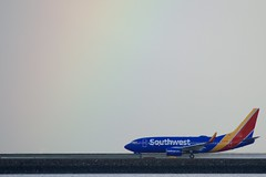 Southwest Airlines Boeing 737 rainbow takeoff from SFO DSC_0472