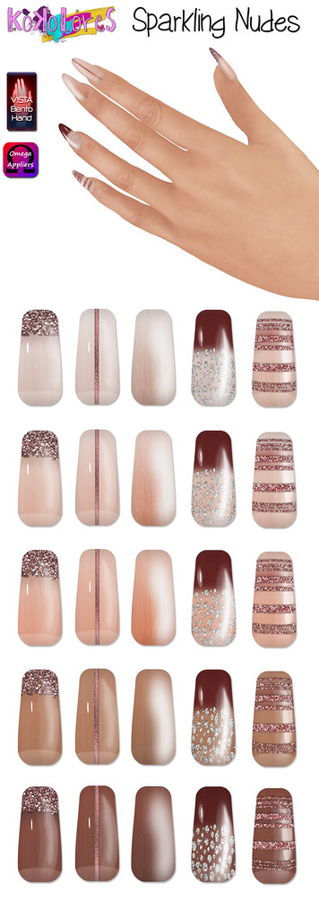 [KoKoLoReS] Sparkling Nudes nail appliers - SecondLifeHub.com