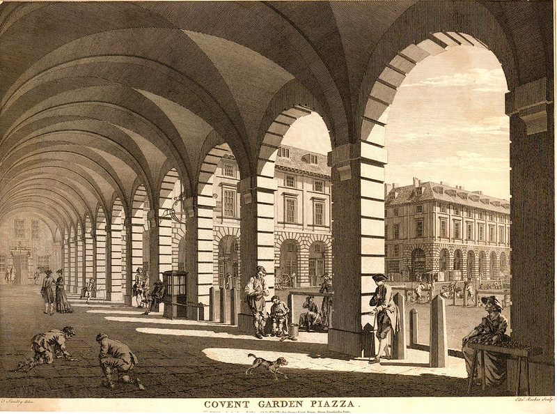 Covent Garden Piazza, by Edward Rooker after Thomas Sandby, 1768