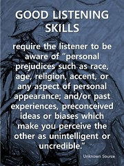 Educational Postcard: Good Listening Skills means being free of bias