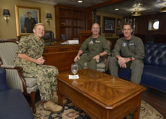 Vice Adm. Nora Tyson, (left) Rear Adm. Ross Myers, (middle) and Rear Adm. William Byrne pose for a group photo, April 14. (U.S. Navy/MCSN Leon Wong)