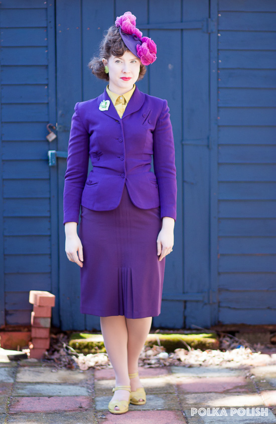 Purple 40s suit paired with chartreuse and hot pink