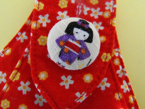 Kokeshi Tea Party - purple button