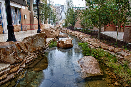 daylighted creek in City Creek Center, LEED-ND silver, Salt Lake City (photo courtesy of City Creek Center)