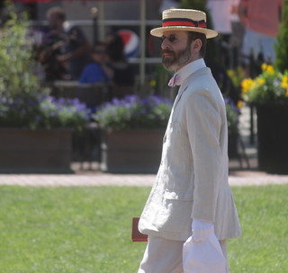 boston boston common man in boater linen suit