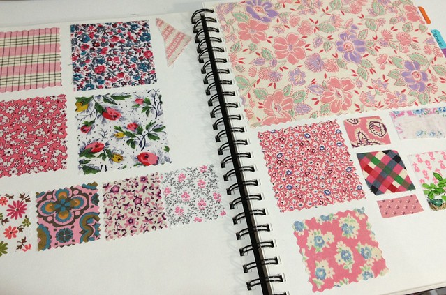 Vintage Fabric Swatch Book Pages