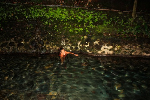 Lina in the hot springs on Camiguin. You can't see half of her because she has half of her body in the vent where hot water is coming out