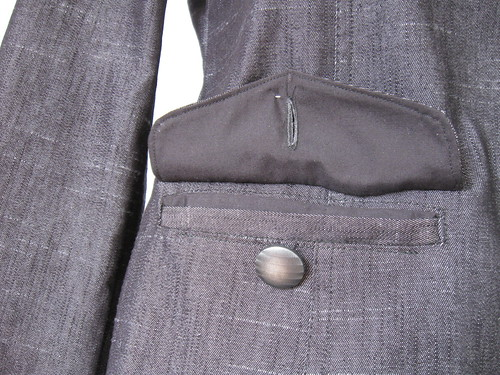 Pocket flap with button