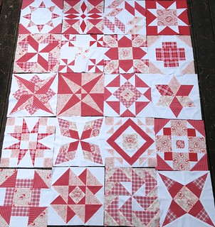 WIP - Red and White Quilt