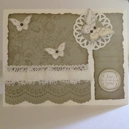 Best card yet! Really starting to find my style. #stampinup #papillonpotpourri #charmingstampset #butterfly  #elementsofstylestampset #toneontone #distressing #vintage #vintagegrunge