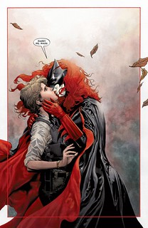 Batwoman kisses her fiancee, Maggie Sawyer
