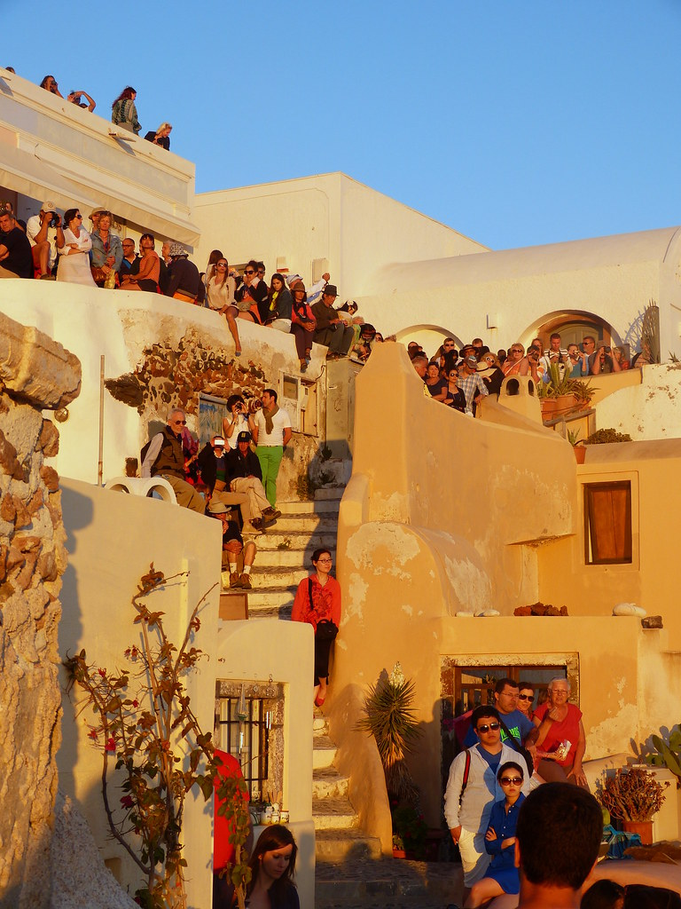 people watching sunset, Santorini