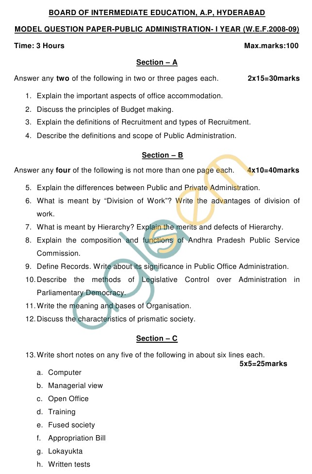 AP Board Intermediate I Year Principles of Public Administration Model Question Paper