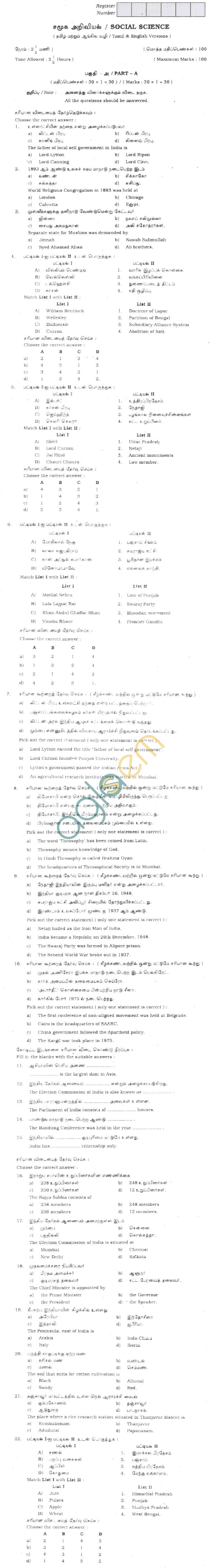 TN Board SSLC Social Science Question Papers June 2011
