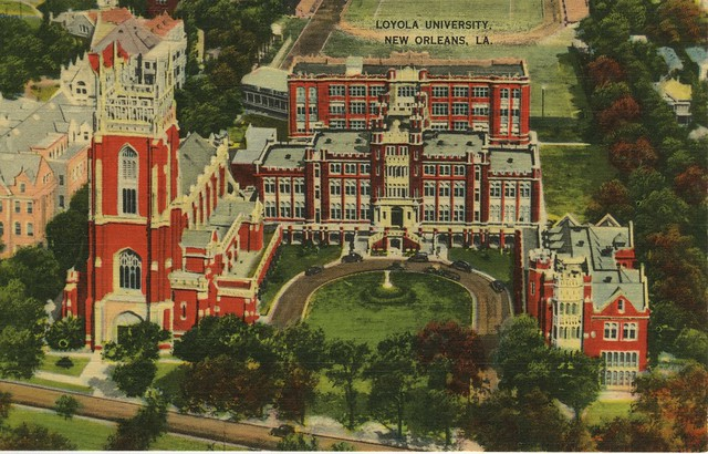 Hand colored photograph of Loyola University Campus