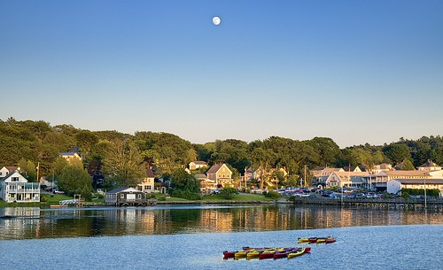 The Moon on Boothbay Harbor, Maine