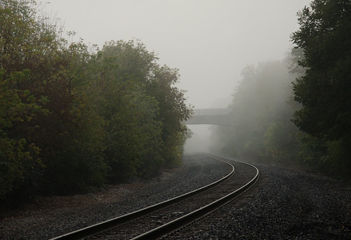 fog mist railroad annarbor day foggy traintrack amtrakwolverine galloppark 1000views onethousandviews