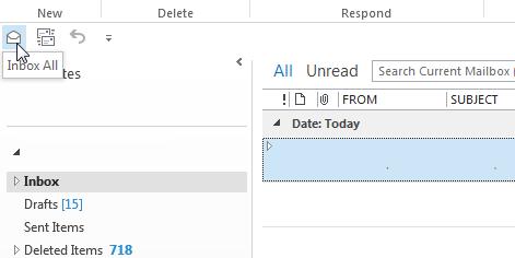 แค่นี้ เราก็ได้ปุ่มใน Quick Access Toolbar ที่จะพาเราไปที่ Unified Inbox แล้ว