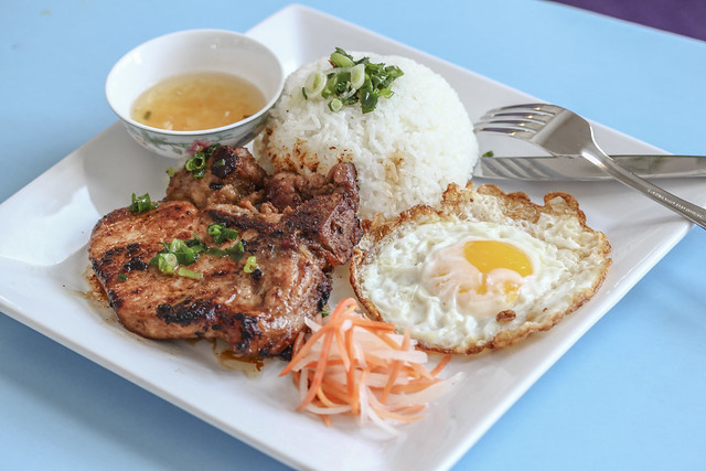 Vietnamese Traditional Food: Steamed rice with fried pork rib and egg ...