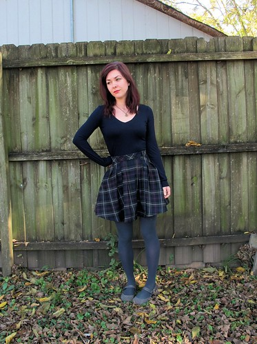 Zinnia Skirt made with plaid wool from Mood Fabrics