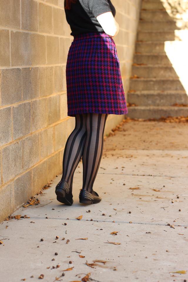 Pink Amp Purple Plaid Skirt Black Sweater Amp Vertically