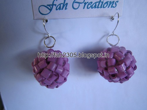 Handmade Jewelry - Paper Quilling Globle Earrings (Purple - H) (1) by fah2305