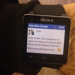 Sony Smart Watch on Alon Ben Joseph's wrist.